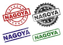 Grunge Textured NAGOYA Seal Stamps. NAGOYA seal stamps with distress texture. Black, green,red,blue vector rubber prints of NAGOYA caption with unclean texture vector illustration