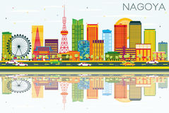 Nagoya Skyline with Color Buildings, Blue Sky and Reflections. Stock Photo
