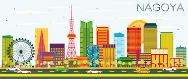 Nagoya Skyline with Color Buildings and Blue Sky. Royalty Free Stock Photos