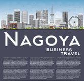 Nagoya Skyline with Gray Buildings, Blue Sky and Copy Space. Royalty Free Stock Photography