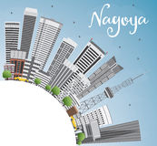 Nagoya Skyline with Gray Buildings, Blue Sky and Copy Space. Stock Photography