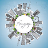 Nagoya Skyline with Gray Buildings, Blue Sky and Copy Space. Royalty Free Stock Images