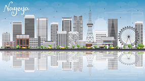 Nagoya Skyline with Gray Buildings, Blue Sky and Reflections. Stock Photo