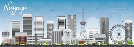 Nagoya Skyline with Gray Buildings and Blue Sky. Stock Photos