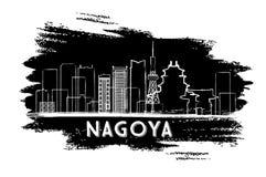 Nagoya Skyline Silhouette. Hand Drawn Sketch. Royalty Free Stock Photography