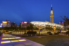 Nagoya stadshorisont med det Nagoya tornet i Japan Fotografering för Bildbyråer