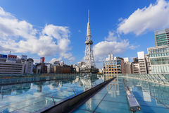 Nagoya Television Tower in Sakae district. The oldest TV tower in Japan, completed in 1954. The tower is 180 metres high Stock Photos