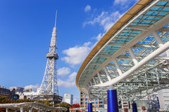 Nagoya Television Tower in Sakae district. The oldest TV tower in Japan, completed in 1954. The tower is 180 metres high Royalty Free Stock Photography