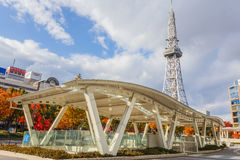 Nagoya Television Tower in Sakae district. The oldest TV tower in Japan, completed in 1954. The tower is 180 metres high Royalty Free Stock Photo