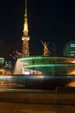 Nagoya-Turm nachts Stockbild