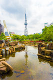 Nagoya TV Tower Pond Rock Garden City Center Park Royalty Free Stock Image