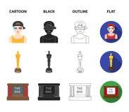 Nagradza Oskar, filmu ekran, 3D szkła Filmy i film ustalone inkasowe ikony w kreskówce, czerń, kontur, mieszkanie stylowy wektor Obraz Royalty Free