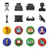 Nagradza Oskar, filmu ekran, 3D szkła Filmy i film ustalone inkasowe ikony w czerni, fleta symbolu stylowy wektorowy zapas Fotografia Stock