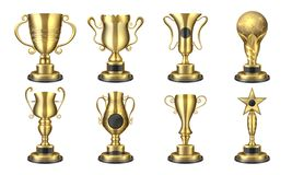 nagradza z?otego wektor Realistyczna trofeum fili?anka, konkurs nagrody 3D projekt, sport nagrody poj?cie, wygrana i sukces ilustracja wektor