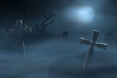 Nagrobki na strasznym mglistym cmentarzu przy nocą royalty ilustracja