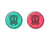 Nagroda medalu linii ikona Zwycięzcy osiągnięcie wektor ilustracja wektor