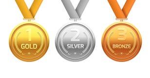 Nagroda medalu złota brąz i srebro Mistrza metalu oddział dla zwycięzcy Wektorowy osiągnięcie royalty ilustracja