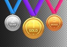 Nagroda medalu złota brąz i srebro Mistrza metalu oddział dla zwycięzcy Wektorowy osiągnięcie ilustracja wektor
