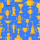 Nagrody I filiżanki Bezszwowa ilustracja ilustracja wektor