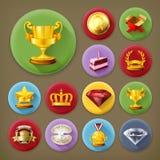 Nagrody i osiągnięcie, ikona set ilustracja wektor