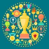 Nagrody i trofeum ikony z filiżanka medalu nagrodą Zwycięzcy mistrza pojęcie Obrazy Royalty Free