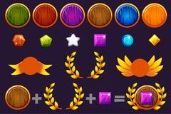 Nagrody round klejnoty i osłona ustawiamy tworzyć zestaw różne nagrody, konstruktor Dla gry, interfejs użytkownika, sztandar ilustracji