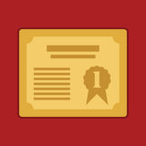 Nagrodzony złoty świadectwo dla 1st Wektorowej ilustraci eps10 ilustracja wektor