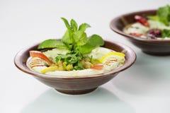 Nahöstlicher Teller Hummus stockfotografie