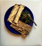 Nahöstliches Mittagessen: hummus, Aubergine, Cracker und rapini tabbouleh Lizenzfreies Stockbild
