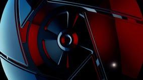 Nah oben für den roten symmetrischen Kreis geometrisch gebildet durch die drehenden Dreiecke, nahtlose Schleife Abstrakter Mechan stock abbildung
