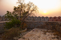 Nahagarh Fort. The fortress wall. Sunset. Jaipur. India. Royalty Free Stock Images