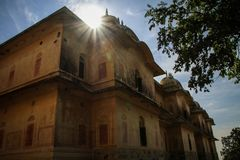 Nahargarh Fort unveiling itself under the strong midday sun,, Jaipur, Rajasthan, India. Nahargarh Fort stands on the edge of the Aravalli Hills, overlooking the Stock Photos