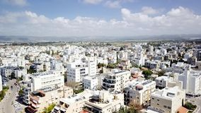 NAHARIYA, ISRAEL-MARCH 9, 2018: Widok z lotu ptaka miasto Nahariya, Izrael Obraz Stock