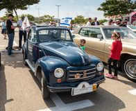 Old Fiat Topolino 1949 at an exhibition of vintage cars parked near the Big Regba Mall. Nahariyya, Israel - April 21, 2018 : Old Fiat Topolino 1949 at an Royalty Free Stock Photos