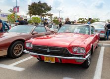 Old Ford Thunderbird 1966 at an exhibition of vintage cars parked near the Big Regba Mall royalty free stock photo