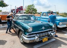 Pontiac Chieftain at an exhibition of vintage cars parked near the Big Regba Mall. Nahariyya, Israel - April 21, 2018 : Pontiac Chieftain at an exhibition of royalty free stock photography
