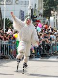 Jumpers on the springs, dressed in fairy costumes participate in the carnival of Adloyada in Nahariyya, Israel. Nahariyya, Israel, March 02, 2018 : Jumpers on Stock Photography