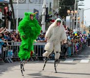 Jumpers on the springs, dressed in fairy costumes participate in the carnival of Adloyada in Nahariyya, Israel. Nahariyya, Israel, March 02, 2018 : Jumpers on Stock Images