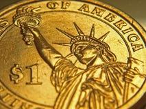 Nahaufnahme-Abbildung von einer Dollar-Münze Stockfotos