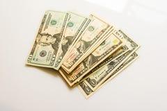 Nahaufnahme-amerikanische Dollar-Banknoten Stockfotos