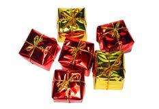 Nahaufnahme-Anordnung für schöne Geschenkboxweihnachtsdekorationen Lizenzfreies Stockbild