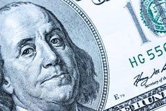 Nahaufnahme auf Benjamin Franklin Stockbilder