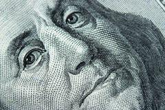 Nahaufnahme auf Benjamin Franklin Stockbild