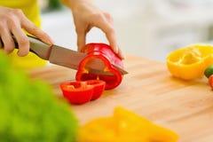 Nahaufnahme auf der Hausfrau, die roten grünen Pfeffer schneidet Stockfoto