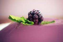 Nahaufnahme auf einem purpurroten Pudding mit einer Brombeere Stockbilder
