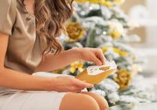Nahaufnahme auf Frauenöffnungsbuchstaben nahe Weihnachtsbaum stockfotos