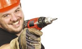 Nahaufnahme auf Heimwerker mit Bohrgerät lizenzfreies stockbild