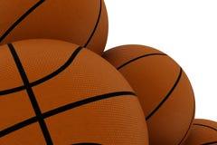 Nahaufnahme auf Stapel von Basketbällen stock abbildung