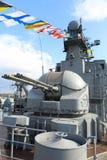 Nahaufnahme - Ausschnitt und Gewehrkriegsschiff Stockfotos