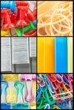 Nahaufnahme-Büroartikel-Collage Stockfotos